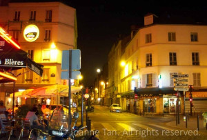 p-architecture – streetscape – cityscape – Paris – Parisian-Parisien Moon & Corner Restaurant in Summer Night