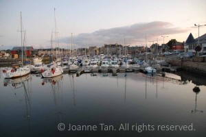 landscape- Harbor, water, boats, & stonehouses  in Paimpol, Brittany, France